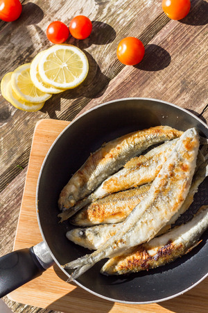 Fried Smelt fish in the pan.