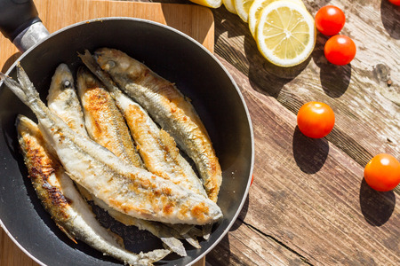 smelt: Fried Smelt fish in the pan.