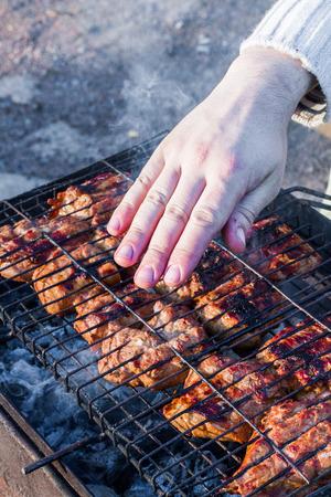 pork tenderloin: The fresh pork tenderloin made on a brazier on a lattice for a barbecue, in the evening on a sunset. Stock Photo