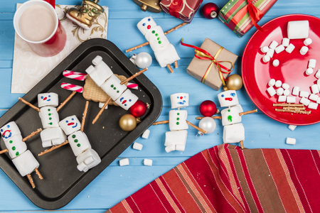 home made: Home made Marshmallow snowmen for hot cocoa. Stock Photo