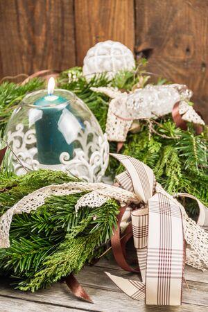 An ornament wreath used as a centerpiece.