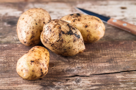 Fresh harvested organic potatoes on the wooden table. 版權商用圖片