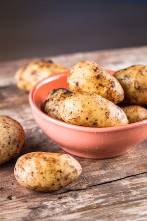 russet potato: Fresh harvested organic potatoes in a bowl on the wooden table. Stock Photo