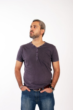 portrait of unshaved man Stock Photo