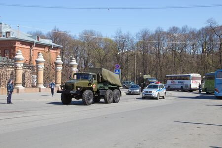 Russia, Sankt-Petersburg, on May 8  The military equipment prepares for victory parade on May 9  Editorial