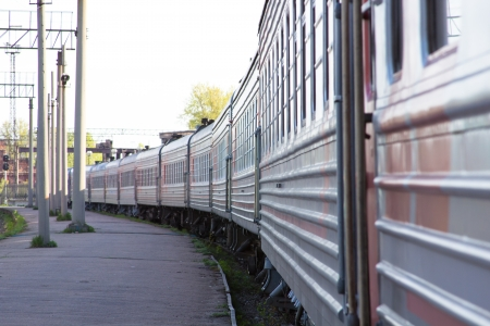 lasting: the train lasting afar Stock Photo