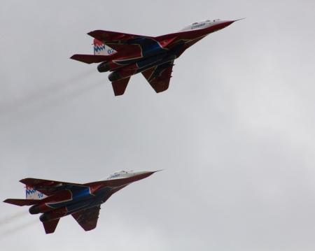 PUSHKIN, RUSSIA - on June 02  The flight group  Martins  carries out demonstrative flight in honor of the 70 anniversary 6th Leningrad Krasnoznamenna of Air Force army and air defense  Military airfield  City Pushkin  On June 02, 2012  Stock Photo
