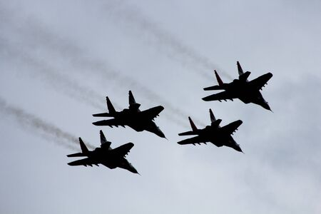 in the sky four military planes Stock Photo