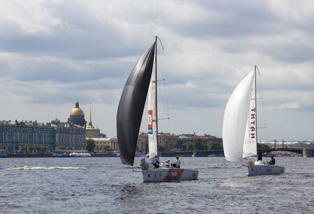 SANKT-PETERSBURG, RUSSIA - on JUNE 10  Sails of the White Nights – the Cup of the Palace of the Congresses, final race on the Neva River  Sankt-Petersburg  On June 10, 2012