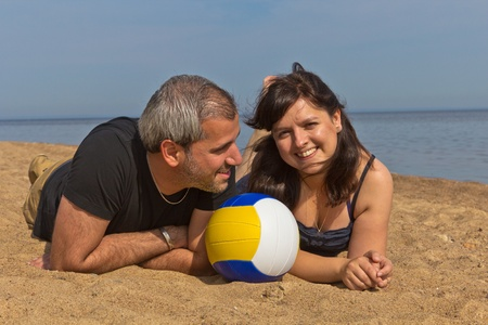 beach volleyball at the sea photo