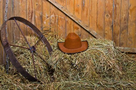 hay bales: cowboys hat on a mow Stock Photo