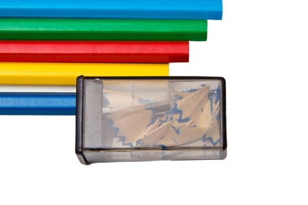 sharpenings: Sharpener and pencils on a white background. Stock Photo