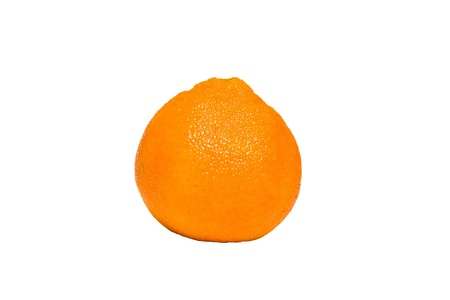 one juicy tangerine on a white background photo