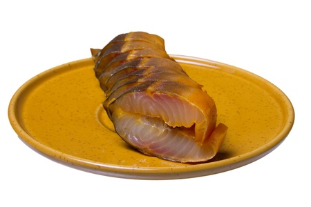 sturgeon: Photo sliced ​​smoked sturgeon on a white background