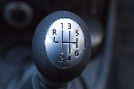 Close-up of a car gear lever  photo