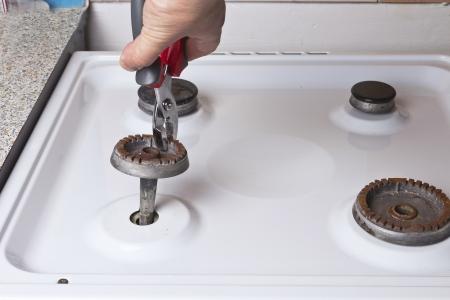 home repair gas stove Stock Photo
