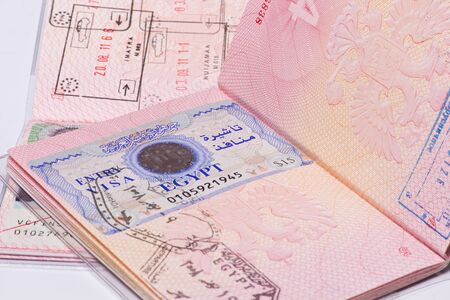 visa in the passport of the border crossing photo