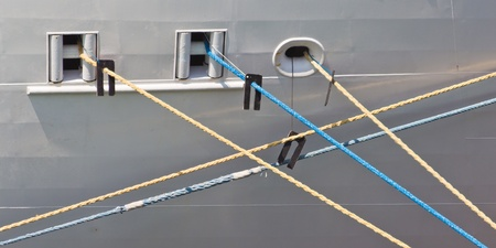 berth: colorful mooring ropes keep the ship