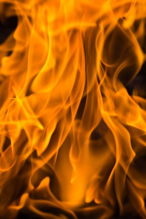 Fire flames with reflection on black background Stock Photo - 22019485