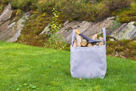 kindling: bag full of wood for kindling Stock Photo