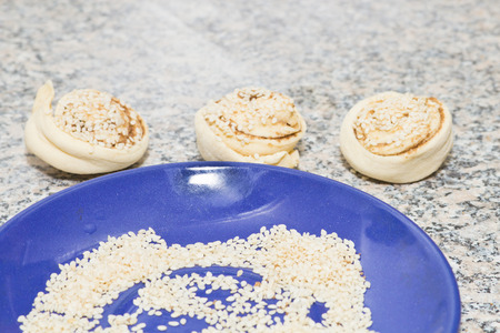 biscuit factory: baking delicious muffins at home Stock Photo