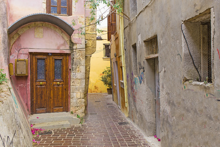 backstreet: colorful city of Chania, located in Crete, Greece. Stock Photo