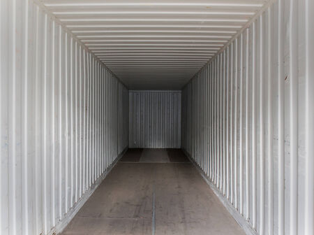 Empty cargo sea container. View from inside. Stock Photo