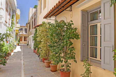 rethymno: traditional architecture of the town of Rethymno, Crete, Greece. Stock Photo