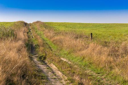 crosscountry: broken country road in field