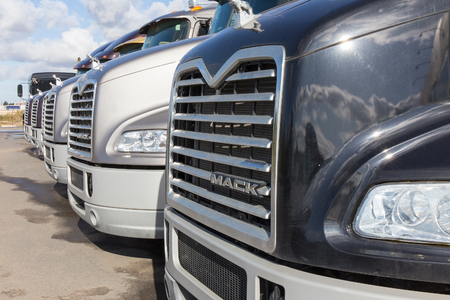 SAINT PETERSBURG, RUSSIA - SEPTEMBER 28: Mack trucks offered for sale.