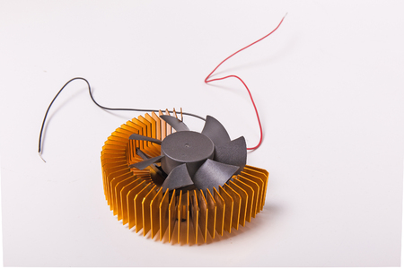 computer cpu: Close-up shot of computer CPU cooler on white background Stock Photo