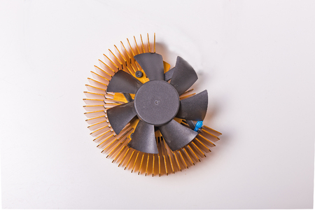 Close-up shot of computer CPU cooler on white background photo
