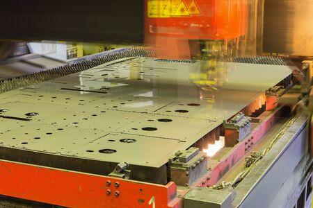 laser cutting machine during operation