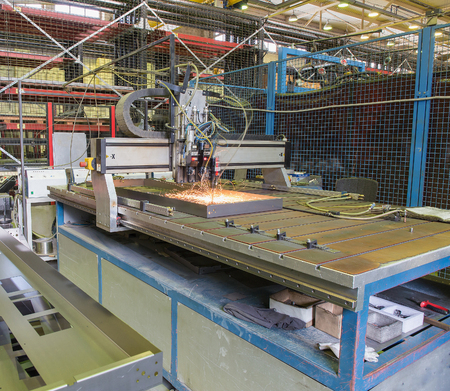 unbend: automatic welding process in the production of Stock Photo
