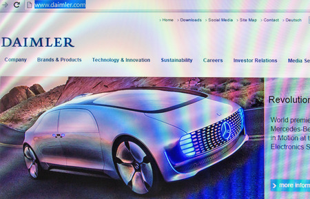 ag: St. Petersburg, Russia - January 19, 2015: Home Photo Daimler AG  website on the screen. German carmaker.