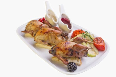Quail GRILL roasted vegetables with raspberry and mushroom sauce photo