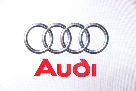 St. Petersburg, Russia-February 10, 2015: Audi logo on the screen. Is a well known car brand in the world. Editorial