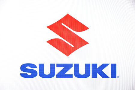 suzuki: St. Petersburg, Russia-February 10, 2015: Suzuki logo on the screen. Is a well known car brand in the world.