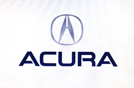 acura: St. Petersburg, Russia-February 10, 2015: Acura logo on the screen. Is a well known car brand in the world.