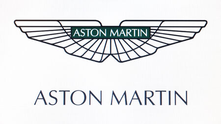 St. Petersburg, Russia-February 10, 2015: Aston Martin logo on the screen . Is a famous world brand. Editorial