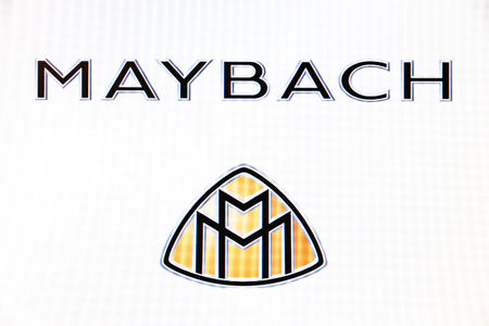 St. Petersburg, Russia-February 10, 2015: Maybach logo on the screen . Is a famous world brand.