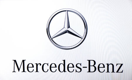 St. Petersburg, Russia-February 10, 2015: MERCEDES- BENZ logo on the screen . Is a famous world brand.