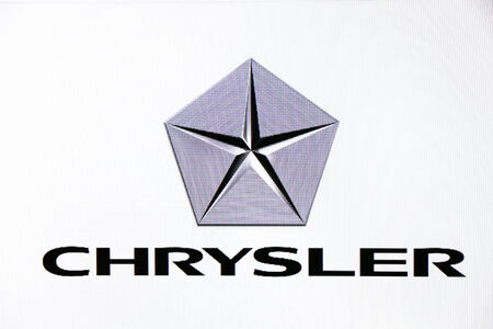 chrysler: St. Petersburg, Russia-February 10, 2015: Chrysler logo on the screen . Is a famous world brand.
