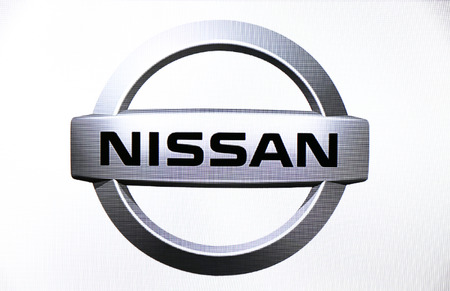 nissan: St. Petersburg, Russia-February 10, 2015: Nissan logo on the screen . Is a famous world brand.