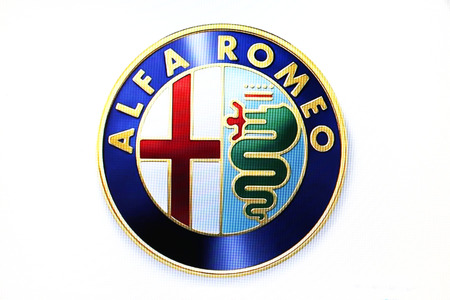 alfa: St. Petersburg, Russia-February 10, 2015: Alfa Romeo logo on the screen . Is a famous world brand. Editorial