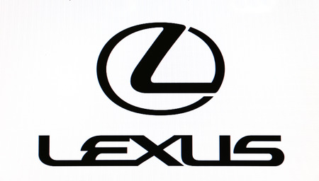 lexus: St. Petersburg, Russia-February 10, 2015: Lexus logo on the screen . Is a famous world brand.