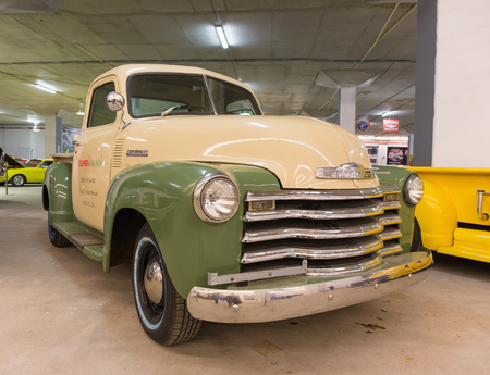 chevy: ST. PETERSBURG, RUSSIA - FEBRUARY 24, 2015 : US Chevy Pickup Truck from the 1950s to the exhibition Muscle Car.