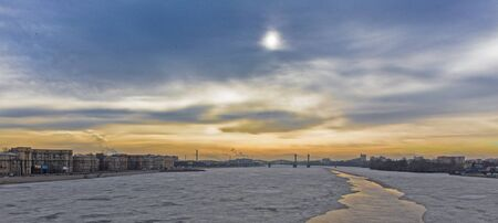 panoramic view of the Neva river in the beautiful spring sky photo