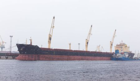 expects: the ship is a bulk carrier expects loading in a port during a snowfall