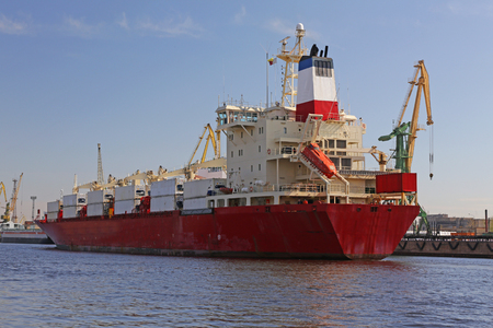perishable: Ship the refrigerator prepares for mooring in the port
